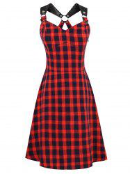 PU Leather Straps Tartan Pin Up Dress