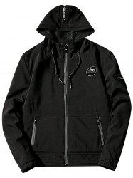Mesh Lining Appliques Hooded Zip Up Jacket