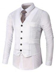 Single Breasted Faux Pocket Waistcoat - WHITE 3XL