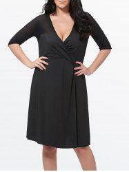 Mesh Insert Plus Size Surplice Dress