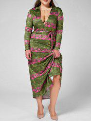 Long Sleeve Plunge Print Maxi Dress for Plus Size