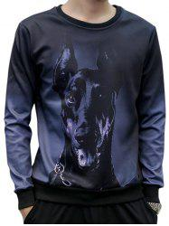 Crew Neck Dog Face 3D Print Sweatshirt