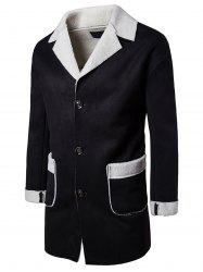Slot Pocket Notch Lapel Faux Shearling Coat - BLACK L