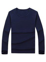 Long Sleeve Basic T-shirt - PURPLISH BLUE 2XL