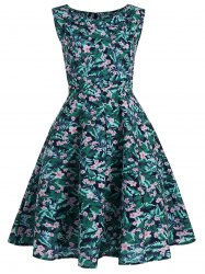 Plus Size Floral Leaf Print Vintage Dress
