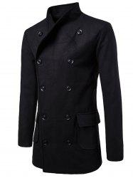 Tie-waist Wool Blend Coat - BLACK XL
