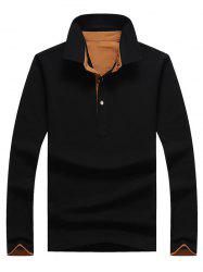 Casual Long Sleeve Half Button Polo Shirt - BLACK 3XL