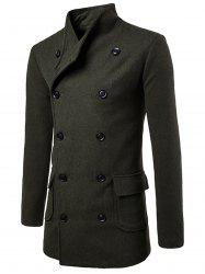 Tie-waist Wool Blend Coat - ARMY GREEN M