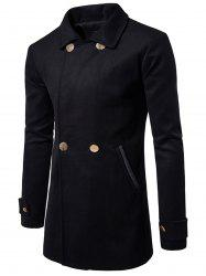 Double Breasted Wool Blend Coat - BLACK L