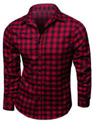 Turndown Collar Long Sleeve Tartan Print Shirt - RED