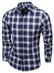Tartan Turndown Collar Long Sleeve Shirt
