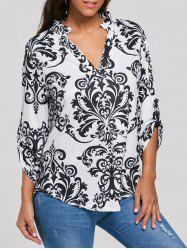 High Low V Neck Bohemian Print T-Shirt
