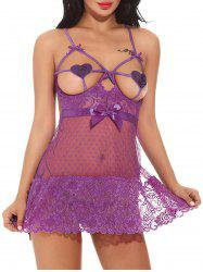 Open Bust See Through Backless Babydoll - Pourpre