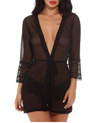 See Through Mesh Kimono Dress