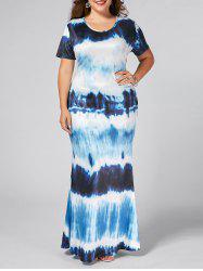 Plus Size Ombre Printed Long Bodycon Dress