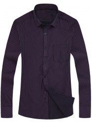 Vertical Stripe Pocket Long Sleeve Shirt