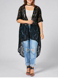 Plus Size  Long Open Front Lace Crochet Cardigan - BLACK