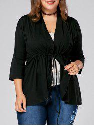 Drawstring  V Neck Plus Size Peplum Top - BLACK