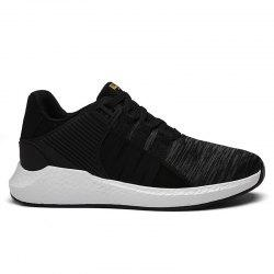 Breathable Pinstripe Athletic Shoes - BLACK
