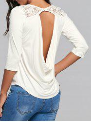 Lace Panel Back Draped Top