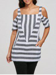Cold Shoulder Pockets Striped Top - GRAY S