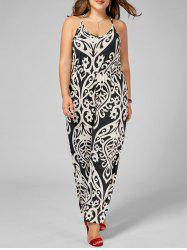 Plus Size High Waisted Printed Jumpsuit -