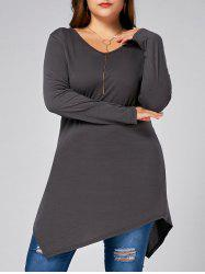 V Neck Long Sleeve Plus Size Asymmetric T-shirt