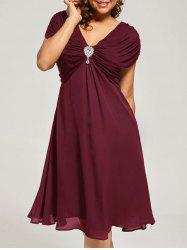 Plus Size Cap Sleeve Chiffon Ruched Dress - WINE RED