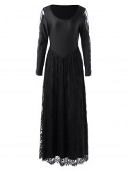 Long Sleeve Lace Trim Maxi Prom Dress