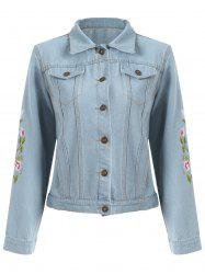 Floral Embroidered Denim Jacket - LIGHT BLUE