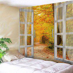 Window Maple Forest Avenue Print Tapestry Wall Hanging Decor