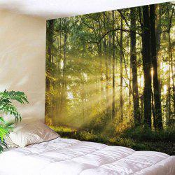 Forest Sunlight Print Tapestry Wall Hanging Decoration - Vert