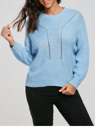 Drop Shoulder Hollow Out Pullover Sweater