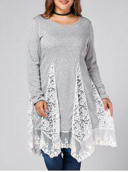 Plus Size Lace Trim  Swing Long Sleeve T-shirts - GRAY