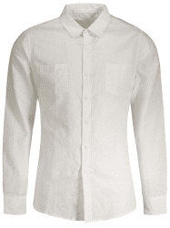 Pockets Plain Linen Men Shirt