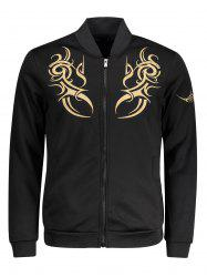 Zip Up Embroidered Mens Jacket