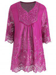 Plus Size V Neck Embroidered Tunic Top -
