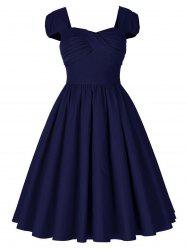 Vintage Puff Sleeve Ruched Pinup Dress -