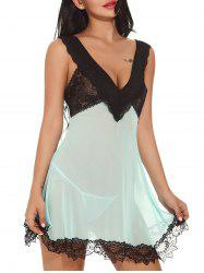 Plunging Neck See-through Mesh Babydoll -