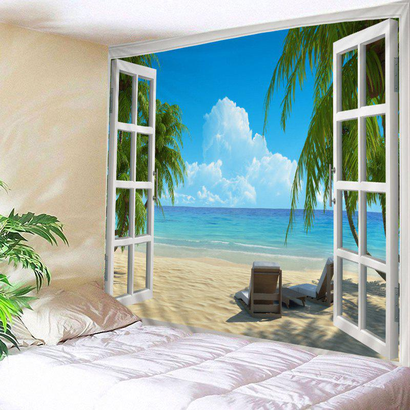 Window Beach View Print Tapestry Wall Hanging Art DecorationHOME<br><br>Size: W59 INCH * L51 INCH; Color: LAKE BLUE; Style: Beach Style; Theme: Beach Theme,Landscape; Material: Polyester; Feature: Washable; Shape/Pattern: Print,Window; Weight: 0.4500kg; Package Contents: 1 x Tapestry;