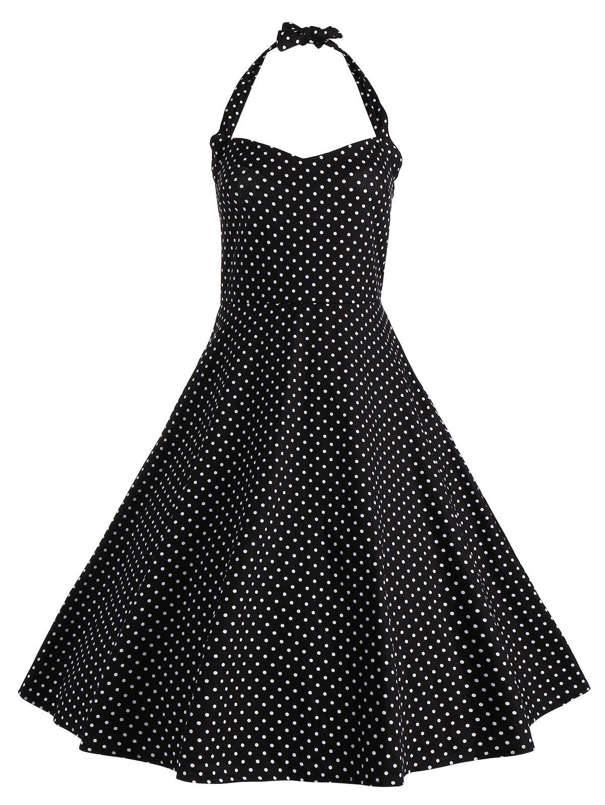 Halter Polka Dot Vintage Plus Size DressWOMEN<br><br>Size: 5XL; Color: BLACK; Style: Vintage; Material: Polyester; Silhouette: A-Line; Dresses Length: Knee-Length; Neckline: Halter; Sleeve Length: Sleeveless; Pattern Type: Polka Dot; With Belt: No; Season: Summer; Weight: 0.5200kg; Package Contents: 1 x Dress;