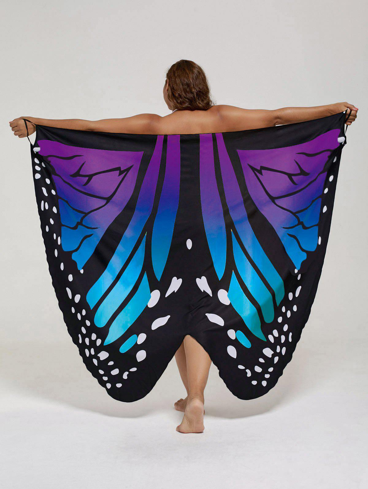 Plus Size Butterfly Beach Wrap Cover Up DressWOMEN<br><br>Size: 5XL; Color: BLUE + PURPLE; Gender: For Women; Swimwear Type: Cover-Up; Material: Polyester; Pattern Type: Insect; Waist: Natural; Weight: 0.2550kg; Package Contents: 1 x Dress;