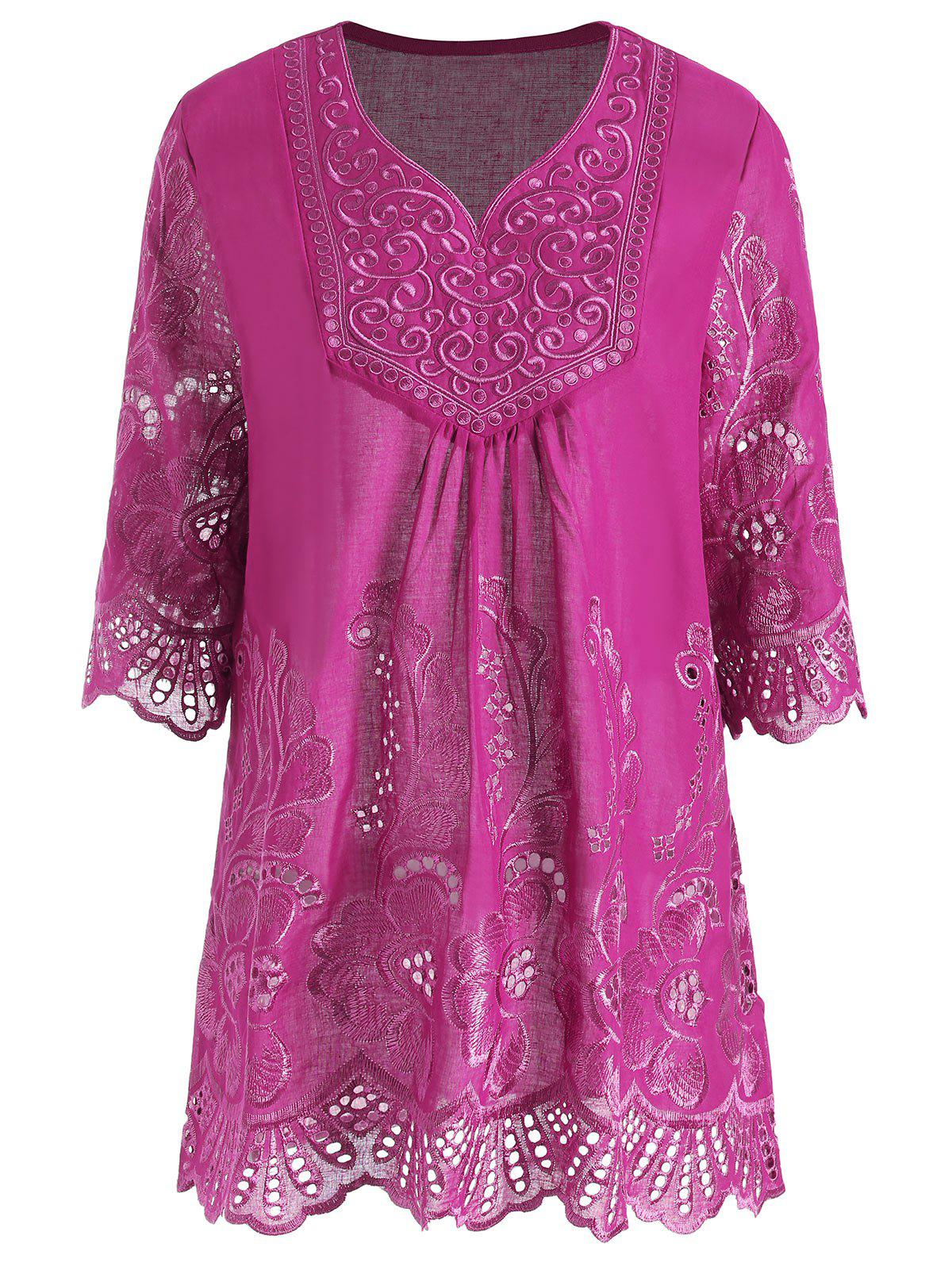 Plus Size V Neck Embroidered Tunic TopWOMEN<br><br>Size: 3XL; Color: ROSE MADDER; Material: Polyester; Shirt Length: Long; Sleeve Length: Three Quarter; Collar: V-Neck; Style: Casual; Season: Summer; Pattern Type: Solid; Weight: 0.2200kg; Package Contents: 1 x Top;
