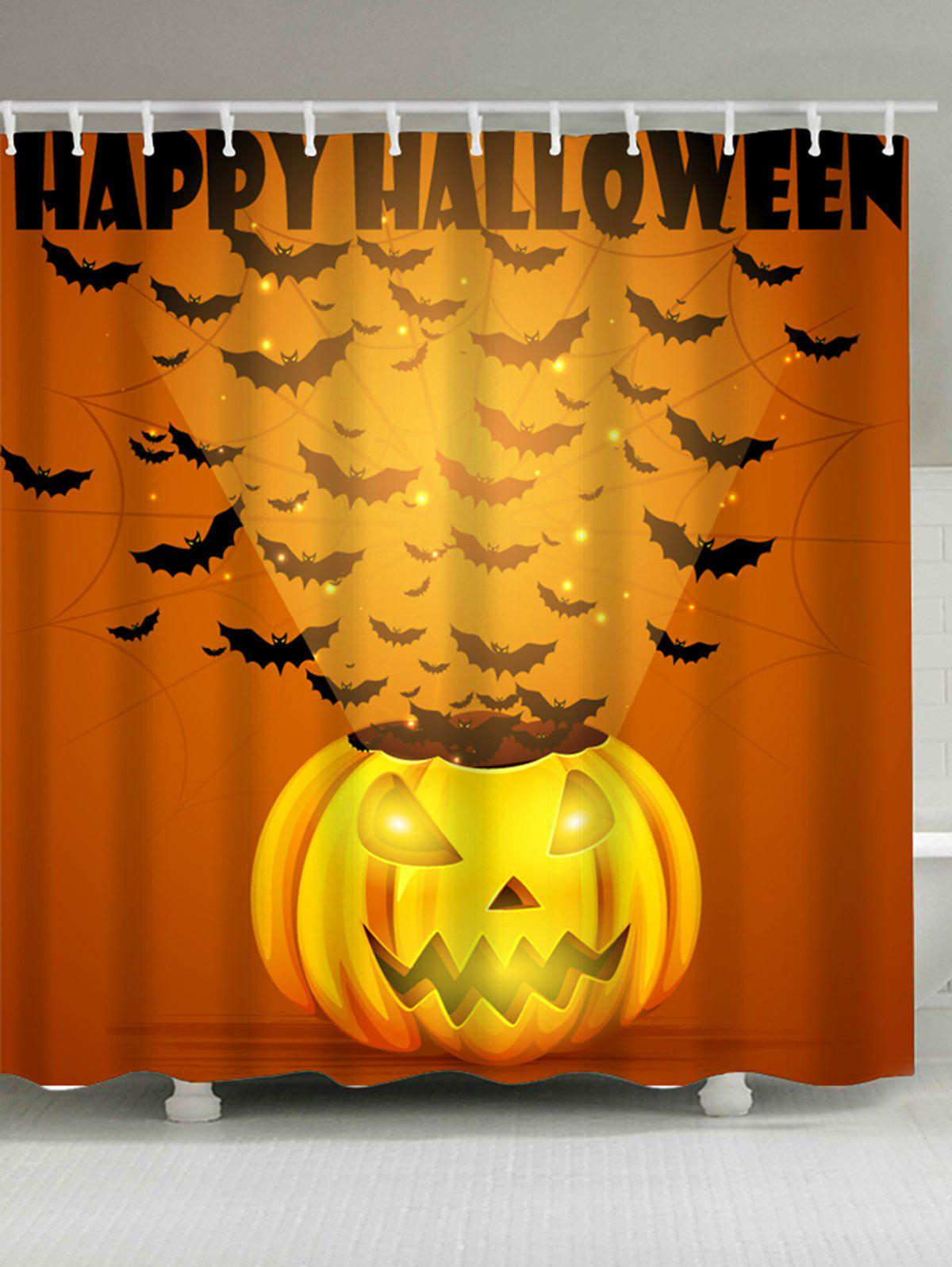 Waterproof Halloween Pumpkin Bats Printed Shower CurtainHOME<br><br>Size: W71 INCH * L71 INCH; Color: GINGER; Products Type: Shower Curtains; Materials: Polyester; Pattern: Pumpkin; Style: Festival; Number of Hook Holes: 12; Package Contents: 1 x Shower Curtain 1 x Hooks (Set);