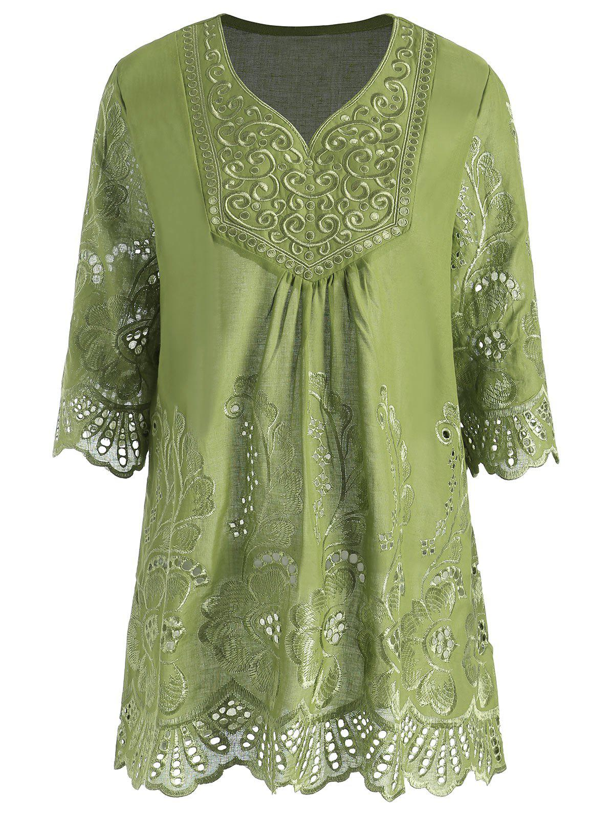 Plus Size V Neck Embroidered Tunic TopWOMEN<br><br>Size: 4XL; Color: GREEN; Material: Polyester; Shirt Length: Long; Sleeve Length: Three Quarter; Collar: V-Neck; Style: Casual; Season: Summer; Pattern Type: Solid; Weight: 0.2200kg; Package Contents: 1 x Top;