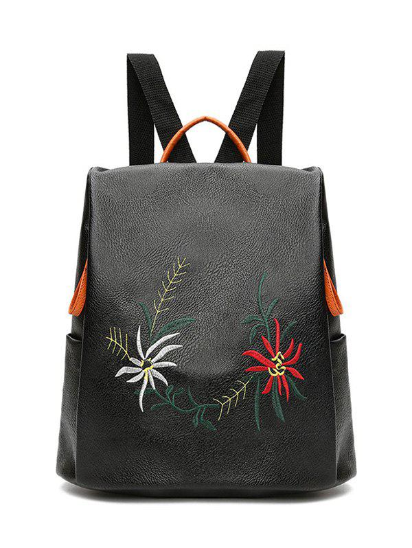 Embroidery Faux Leather BackpackSHOES &amp; BAGS<br><br>Color: BLACK; Handbag Type: Backpack; Style: Fashion; Gender: For Women; Embellishment: Embroidery; Pattern Type: Floral; Handbag Size: Medium(30-50cm); Closure Type: Zipper; Occasion: Versatile; Main Material: PU; Weight: 1.2000kg; Size(CM)(L*W*H): 30*15*31; Package Contents: 1 x Backpack;