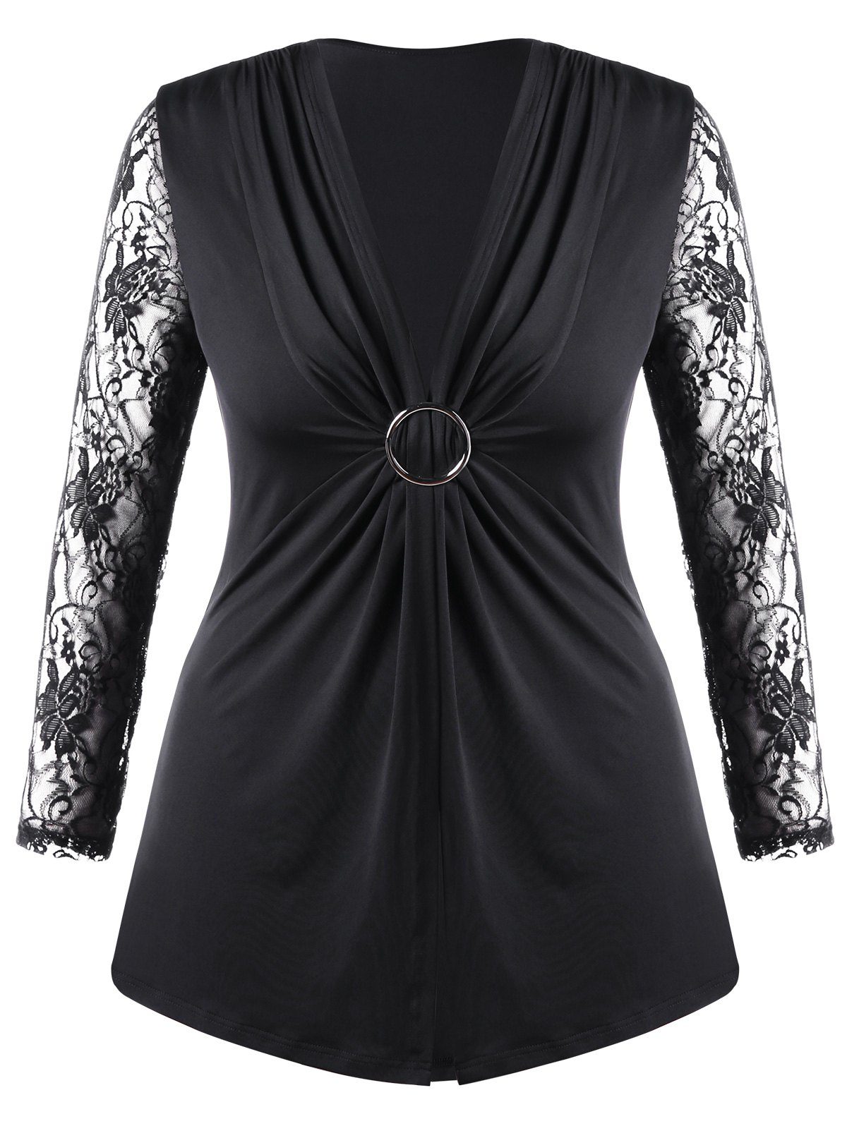 Plus Size Lace Trim Twist Front TopWOMEN<br><br>Size: 2XL; Color: BLACK; Material: Polyester,Spandex; Shirt Length: Long; Sleeve Length: Full; Collar: Plunging Neck; Style: Fashion; Season: Fall,Spring,Summer; Embellishment: Lace; Pattern Type: Floral; Weight: 0.3000kg; Package Contents: 1 x Top;