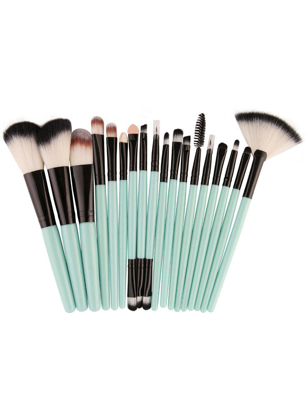 18Pcs Face Eye Makeup Brushes KitBEAUTY<br><br>Color: BLACK AND GREEN; Category: Makeup Brushes Set; Brush Hair Material: Synthetic Hair; Features: Professional; Season: Fall,Spring,Summer,Winter; Weight: 0.1300kg; Package Contents: 18 x Brushes(Pcs);