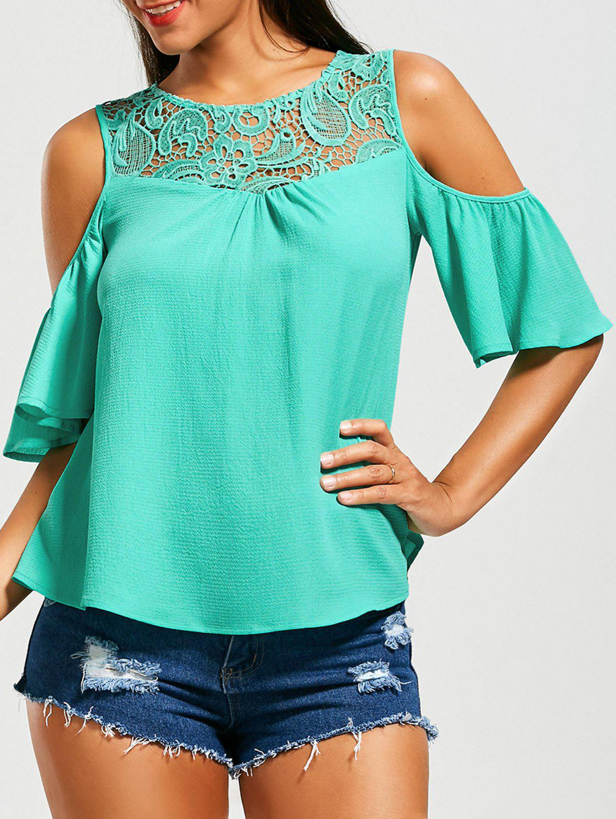 New Cold Shoulder Flared Sleeve Lace Insert Blouse