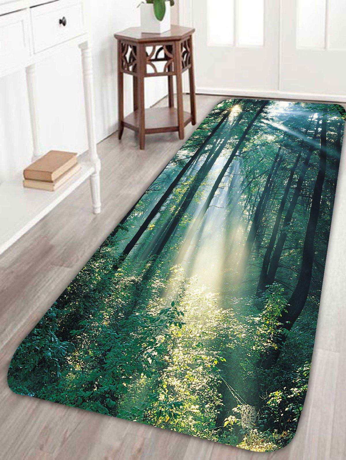 Sunshine Forest Print Coral Fleece Bath RugHOME<br><br>Size: W24 INCH * L71 INCH; Color: GREEN; Products Type: Bath rugs; Materials: Coral FLeece; Pattern: Plant; Style: Fresh Style; Shape: Rectangle; Package Contents: 1 x Rug;